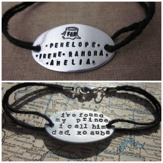 The Bernice Bracelet - Hand Stamped Metal and Hemp Bracelet