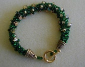 Emerald and Gold Dutch Spiral Rope Beadwoven Bracelet   ~Rope Bracelet~Spiral Bracelet~Dutch Spiral~Emerald Bracelet~Green Bracelet