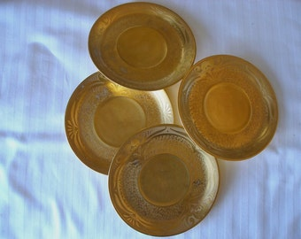 Rare 24-kt Gold  Pickard  Porcelain Saucers plates Set of 4 Antique