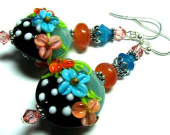 Turquoise Orange Lampwork Earrings Handmade Earrings Flower Earrings Floral Earrings Artisan Earrings Beaded Earrings Glass Bead Earrings