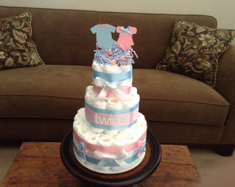 twins Diaper Cake baby shower centerpiece other styles and sizes colors available