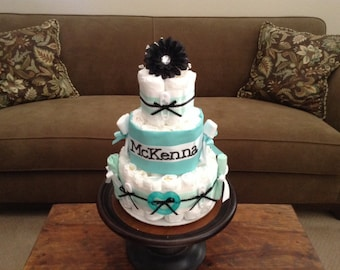 Aqua Blue Boy or Girl Diaper Cake Baby Shower Centerpiece other toppers sizes and you pick accent color