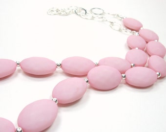 Cotton Candy Collection-Light Pink Opaque Candy Faceted Ovals Beaded Necklace Silver Accent Single Layer Baby Pink Necklace