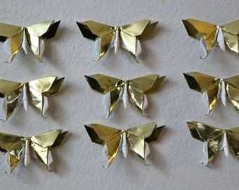 10 or 20 Origami 3D Swallowtail Butterflies in Metallic Gold Paper - Different Sizes Available