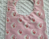 Sweet Baby Petite Roses  Bib with White Minky  Pink Roses Girl