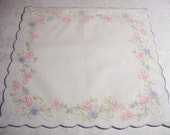 Vintage White Cotton Handkerchief with Shadow Embroidery Madeira Embroidery