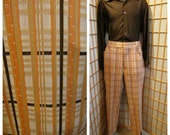 70s orange/gold/brown striped plaid flared pants mens size 36 waist