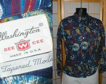 60s paisley cotton shirt by Washington Dee W Cee mens size medium