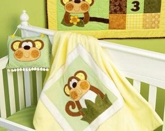 NURSERY ACCESSORIES PATTERN / Make Quilt - Wall Hanging - Blanket / Monkey Designs
