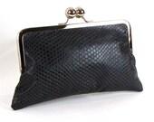 Black Snake Embossed Leather CLUTCH -  RETRO clutch - BLACK kiss lock framed bag