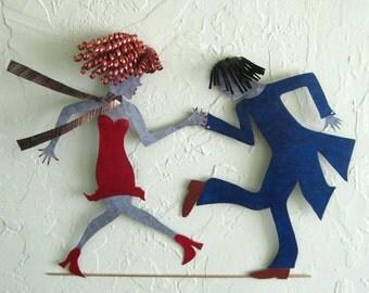 Metal Wall Art Dancers Roaring 20's Recycled Metal Flapper Wall Art Red Head Jazz Dance Decor 12 x 20