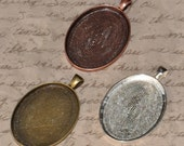 20 pcs 30 x 40mm Oval Pendant Trays, Oval Bezels, Antique Bronze, Antique Copper or Silver, Blank Bezel Cabochon Setting