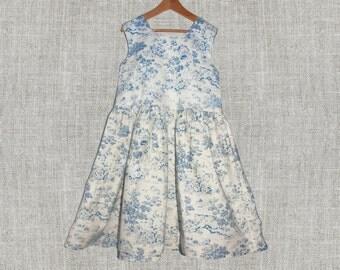 Toddler Girl dress, Blue Toile Dress, Blue girl dress, cotton dress, Flower girl sundress, Wedding outfit, Dress blue toile scene