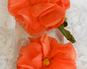 1930's Tangerine Orange Silk Floppy Roses