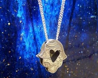Silver Hamsa Heart Necklace