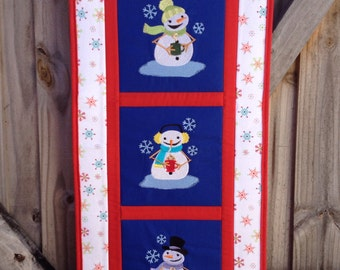 Snowman quilted wall hanging - hot coffee, cocoa and tea / embroidered / quilted / home decor / embroidered / winter / holiday / snowmen