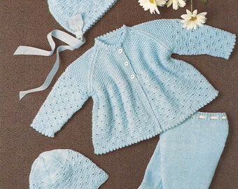 PDF Knitting Pattern Baby Matinee Coat Set with Leggins, Bonnet, Helmet and Mitts (Ho286)
