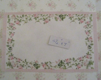 "Carpet,  Rosebud border on white, , 5"" X 7 , twelfth scal,e dollhouse miniature"