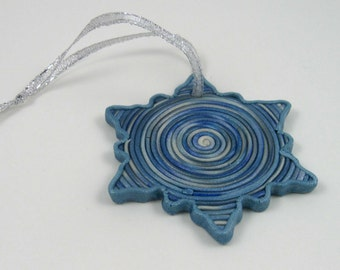 Frosty Blue Swirl Snowflake ornament, metallic polymer clay, decorative gift tag
