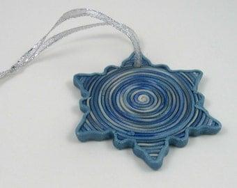 Frosty Blue Swirl Snowflake ornament, metallic polymer clay, decorative gift tag