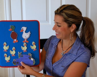 Storytelling Lap Board / Felt Board.  12X13. Elastic Strap on back makes it easy to hold