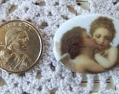 Cameo Darling Kissing Angels Hand Applied Porcelain Fired Decal 40x30 ECS