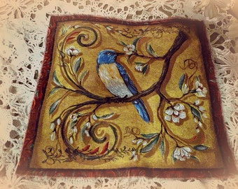 Softly Distressed Old World Drawings of Assorted Bird Quilting Squares - You get to Choose Print Style