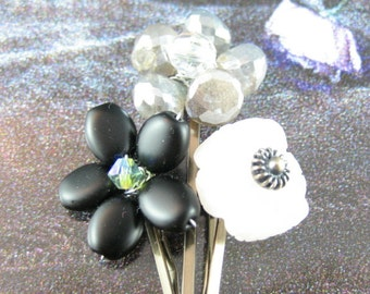 3 Pink Black Grey Flower Blossoms Bobby Pins for Hair