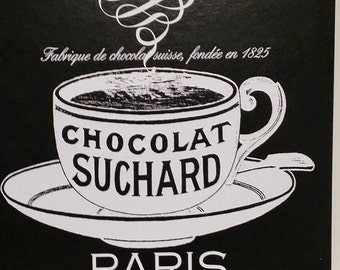 Custom Paris Chocolate Coffee Cup Bold Black & White Custom Wood Wall Plaque