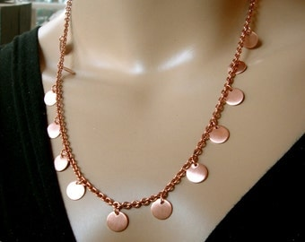 Copper chain necklace copper discs raw copper Energy copper handmade