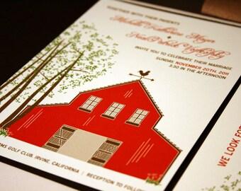 Barn Wedding Invitation Sample, Rustic Wedding Invitation, Outdoor Wedding, Country Invitation, Red Brown Pocketfold, Summer Invite Spring