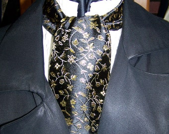 "SALE Ascot or Cravat Gold vine and Black Floral print fabric 4"" x 44"" or 58"" Mens Historial Wedding, cravat tie"