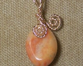 Natural Orange AGATE Gemstone Gold Wire Wrap Necklace Pendant with FREE gold chain SALE