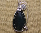 Natural Black ONYX with Cubic Zirconia Sterling Silver Plate Wire Wrap Necklace Pendant