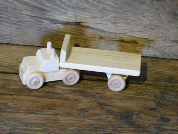 Hand Made Wood Bed For Children : Handmade Wood Toy Tractor Trailer Flatbed Wooden Toys Flat Bed Toys ...