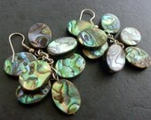 Iridescent Paua Shell (Abalone) Bead Cluster Dangle Earrings Natural Multicolored shell oval beads in shimmering blue, green and turquoise .
