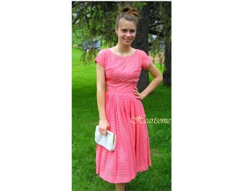 Vintage 50s 60s dress coral salmon eyelet womens summer small collector