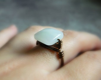 White Quartz Ring - Wrapped Ring - To Order - Opal White, Crystal, Handmade, Romantic, Snow, Ice, Grey, Gray, Wedding, Bride, Jewelry Rings