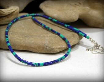 Mens Necklace, Minimalist Beaded Necklace, Heishi Necklace, Mens Jewelry, Southwest Tribal Necklace, Bead Jewelry, Womens Necklace