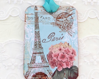 Tags Eiffel Tower, French Gift  Tags,Birthday Paris  Decor-Bridal Shower-Party Favor-Hydrangeas- High Tea Party-Turquoise Handmade Australia