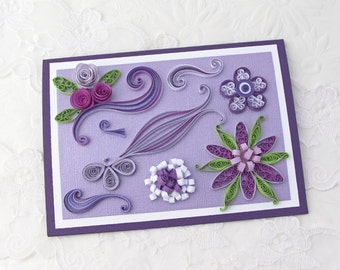 Paper Quilling Card- Birthday- Paper Quilled Floral Art- Thinking of You-  Lavender Daisies- Roses -Purple Scrolls -Keepsake Gift- Australia