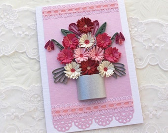 Paper Quilling Card - Paper Quilled Silver Pot of Pink Fuchsia Fringed Flowers, Birthday, Thinking of You,Anniversary, Handmade Australia