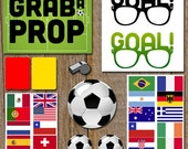 Instant Download - World Cup Brazil Photo booth set Printable