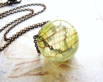 Spiral Beauty - Hand Blown Yellow Glass Bead and Copper Chain Handmade Necklace