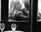 Paris in Love, Classic Paris, girl at cafe, black and white photography, Paris Art, french decor, Paris Cafe Photo, girl in Paris