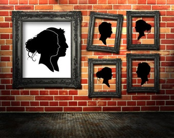 Custom Silhouette Portraits - 2 CUT Silhouettes Overlapped in One Print - Framed 8x10 Art Print