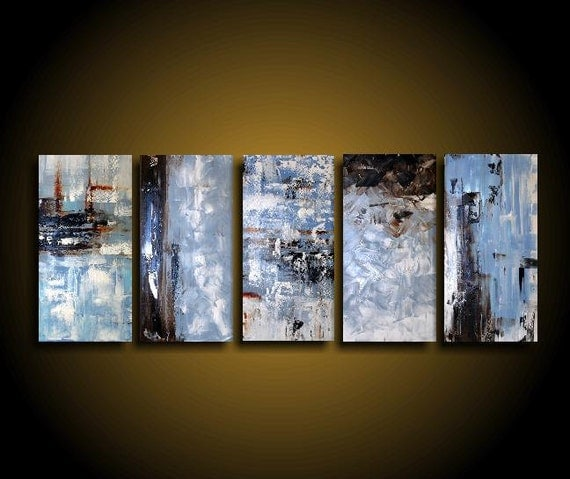 Extra Large Abstract Art Modern Painting Wall Art Blue