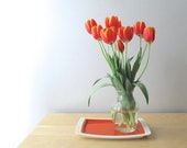 bright orange enamel serving tray west bend thermo serv tray