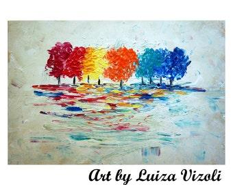 "Abstract Wall Art TREES SEASONS Colors Impasto Oil Painting on Large Canvas Original Art 36""x 24"""