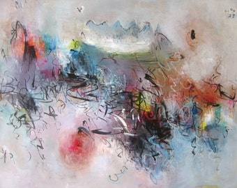 18x24 abstract landscape painting, orange blue art, blue orange seascape landscape painting abstract, abstract landscape acrylic, art blue